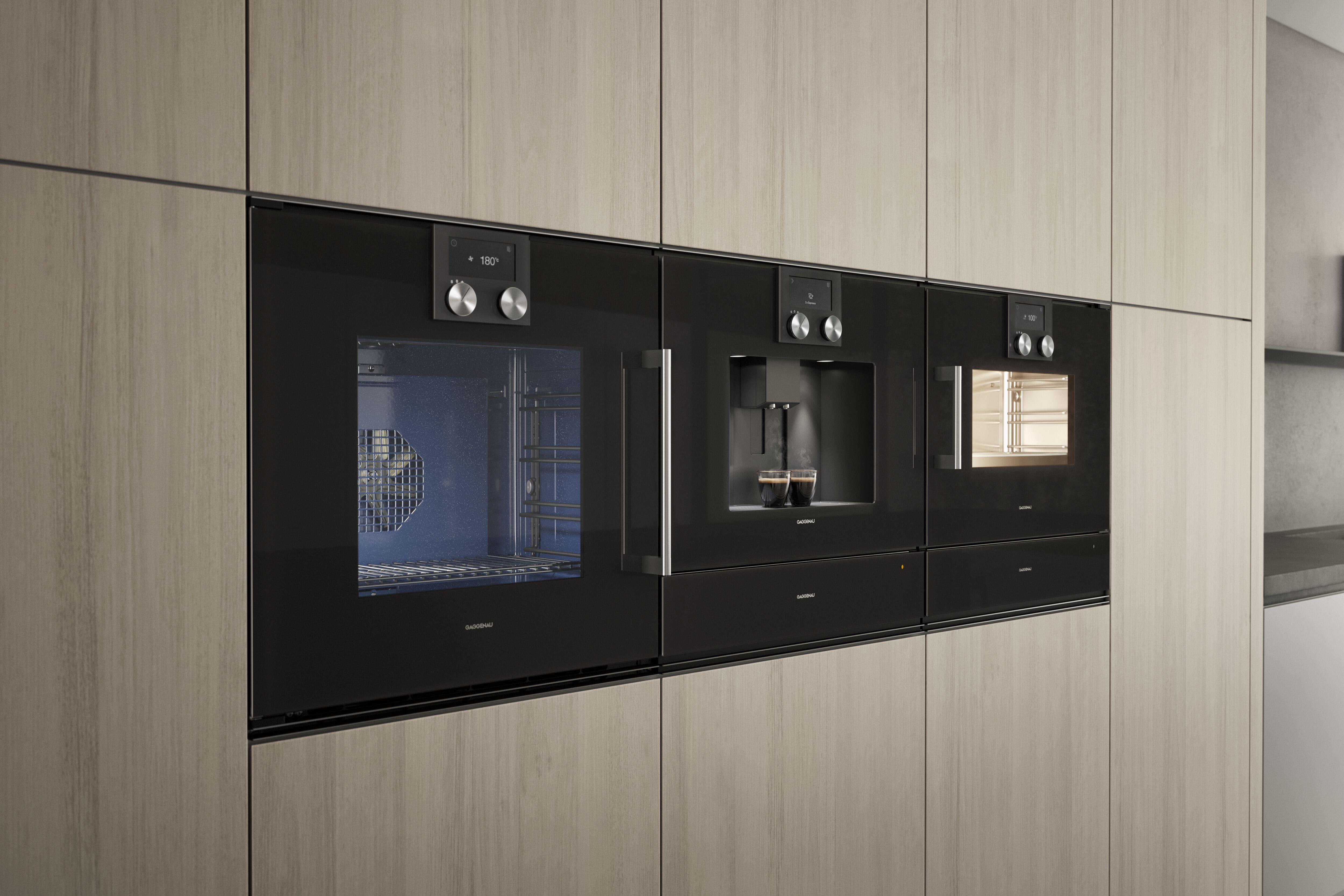 Gaggenau oven, coffee machine and micro wave in kitchen
