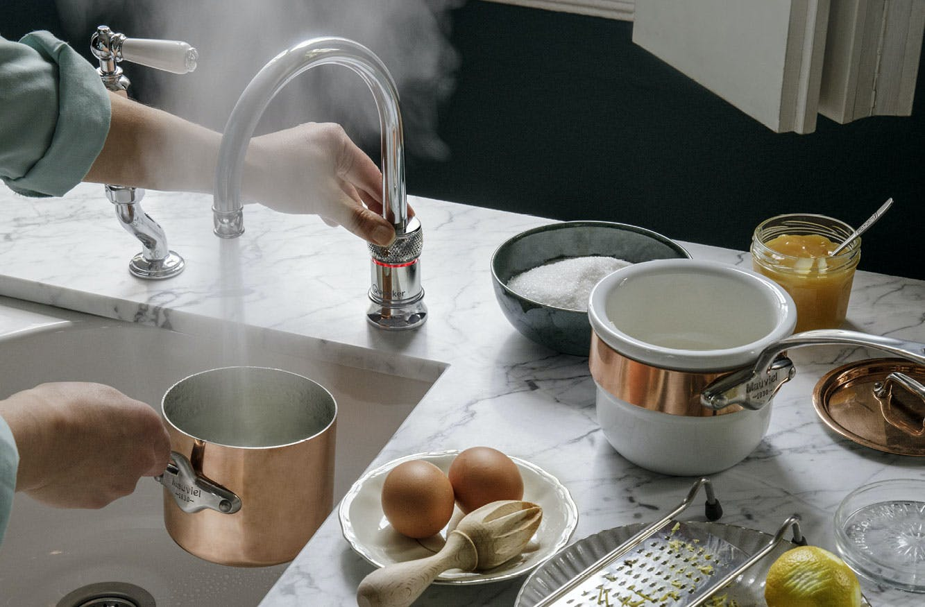 Classic Nordic round Quooker boiling tap in polished Chrome