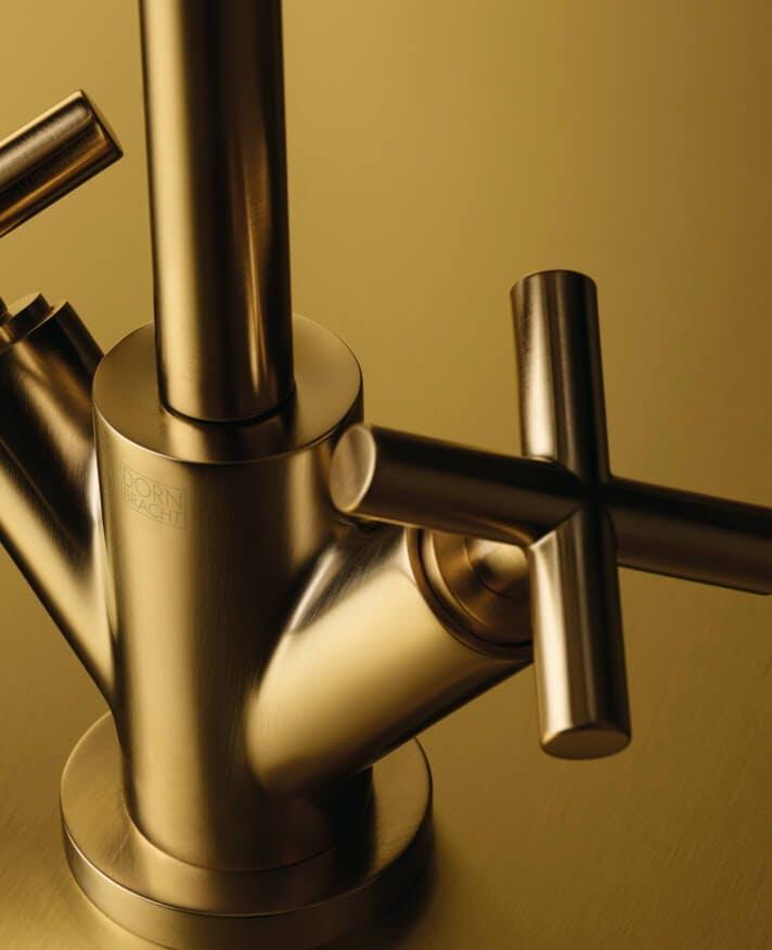 Close up picture of Dornbracht brass tap