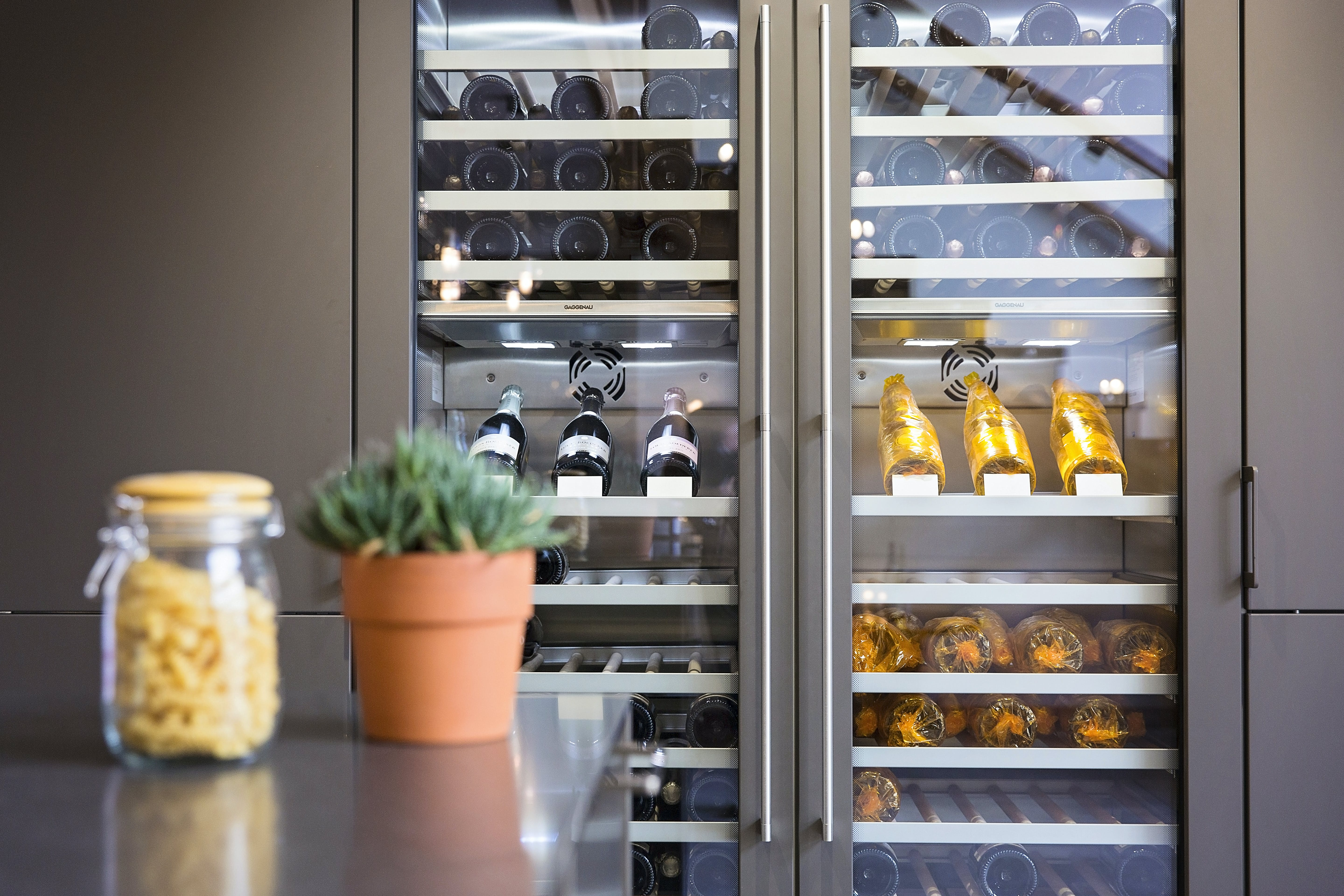 Close up image of Gaggenau wine fridge in a brown SieMatic kitchen
