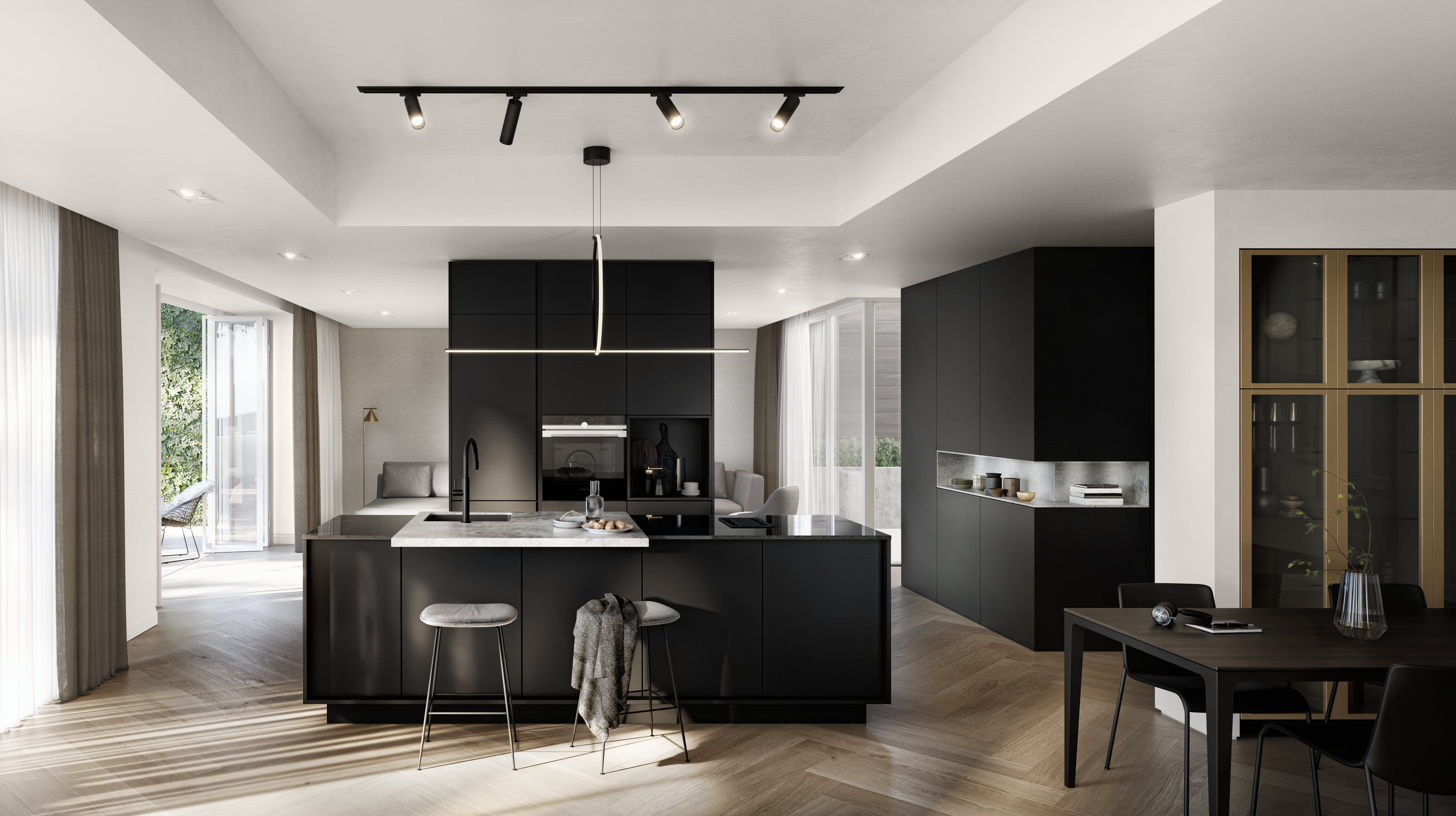 Black SieMatic Pure kitchen with island
